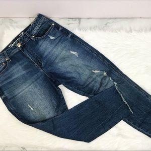 Seven 7 Distressed raw hem high rise skinny jeans